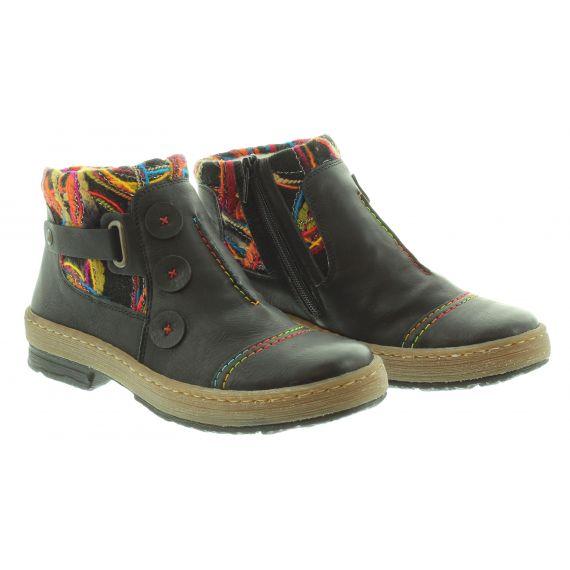 RIEKER Ladies Rieker 6759 Flat Ankle Boot in Black