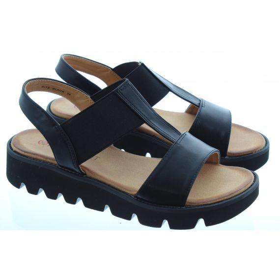 HEAVENLY FEET Ladies Ritz Flat Sandal in Black