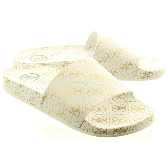 GUESS Ladies RUB19 Slide Sandals In White