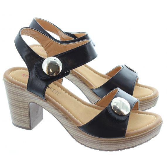 HEAVENLY FEET Ladies Sadie 2 Heel Sandal in Black