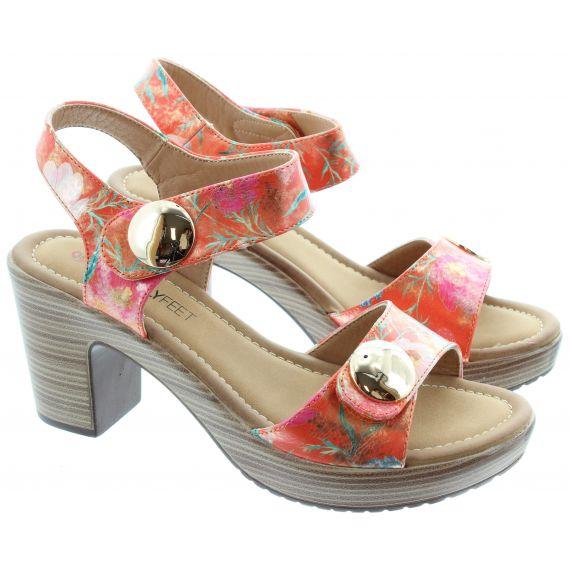 HEAVENLY FEET Ladies Sadie 2 Heel Sandal in Orange