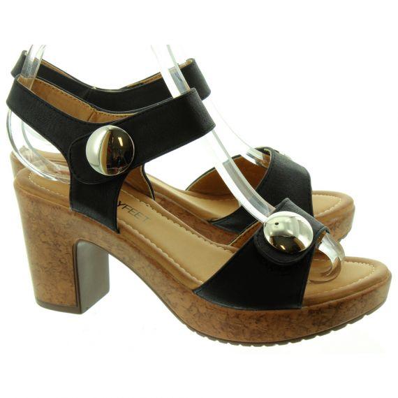 HEAVENLY FEET Ladies Sadie Heel Sandals In Black