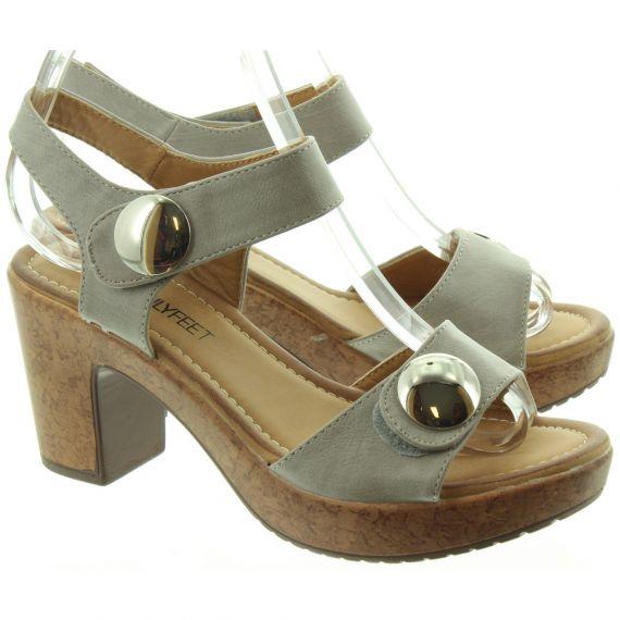 HEAVENLY FEET Ladies Sadie Heel Sandals In Grey