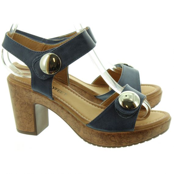 HEAVENLY FEET Ladies Sadie Heel Sandals In Navy