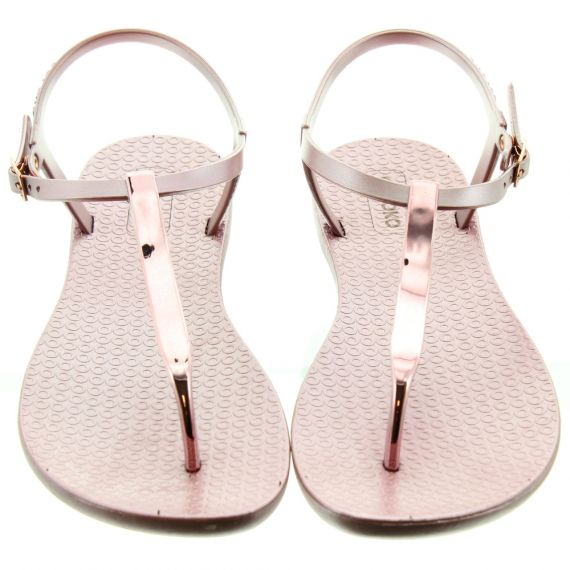 COLOKO Ladies Sakura Metallic Sandals In Rose Pink