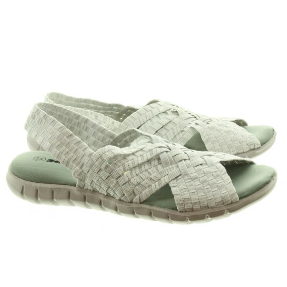 ADESSO Ladies Sally Sandals In White And Silver
