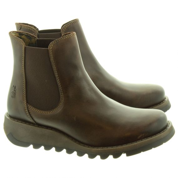 FLY Ladies Salv Chelsea Boots In Dark Brown