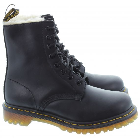 DR MARTENS Ladies Serena Fur Ankle Boots In Black