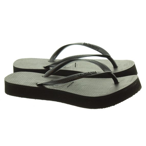 HAVAIANAS LADIES SLIM FLATFORM SANDALS IN BLACK