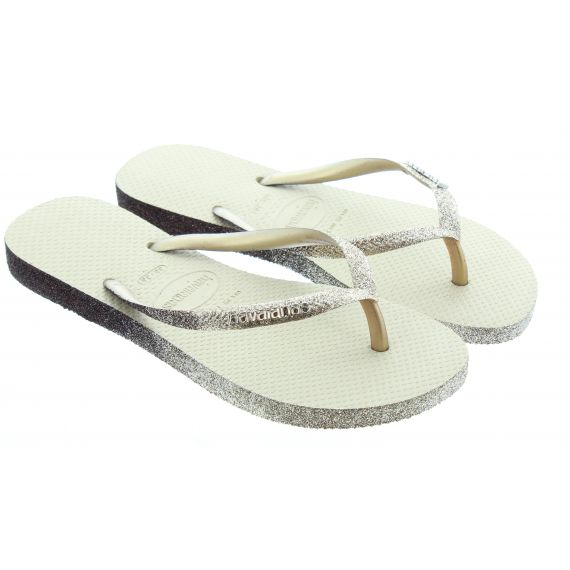 HAVAIANAS Ladies Slim Sparkle Flip Flops In Gold