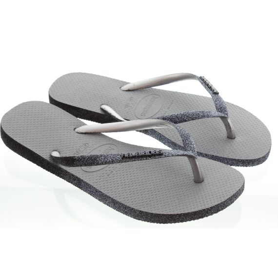 HAVAIANAS Ladies Slim Sparkle Flip Flops In Grey