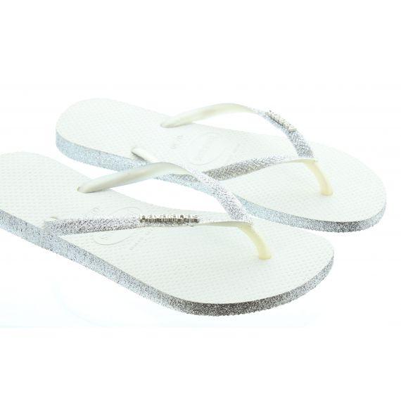 HAVAIANAS Ladies Slim Sparkle Flip Flops In White
