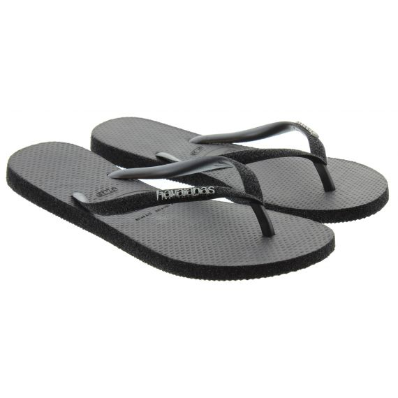 HAVAIANAS LADIES SLIM SPARKLE SANDALS IN BLACK