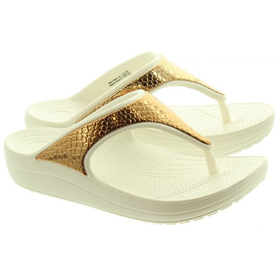 CROCS Ladies Slone Flip Flops In Bronze