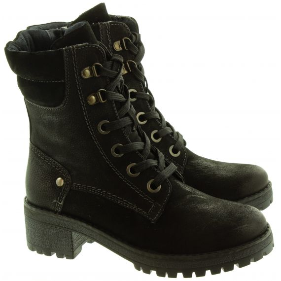 ADESSO Ladies Tara Military Boots In Black