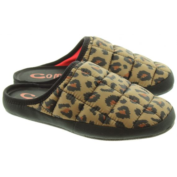Ladies Tokyoes Coma Toes Slippers In Leopard
