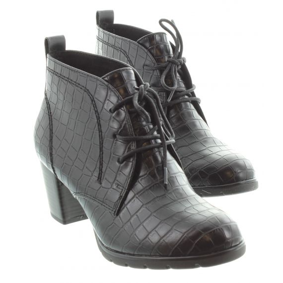 MARCO_TOZZI Ladies Tozzi 25109 Lace Ankle Boot in Black Croc