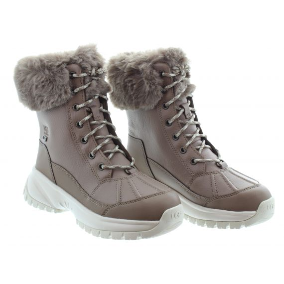 UGG Ladies UGG Yose Fluff Ankle Boots in Caribou