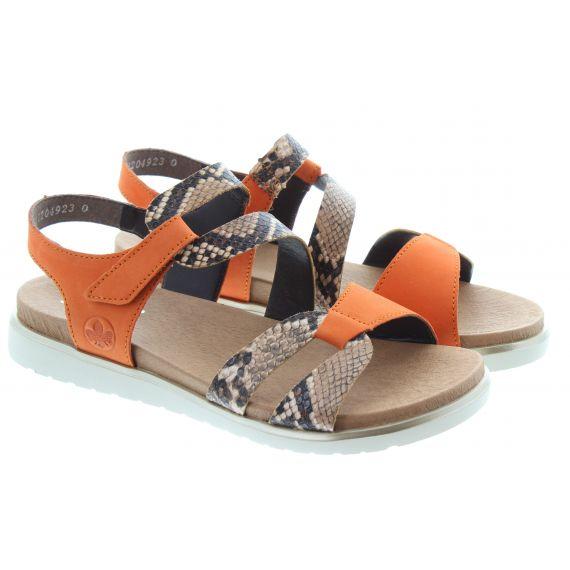 RIEKER Ladies V5069 Flat Sandals In Orange Multi