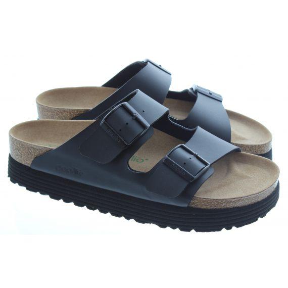 BIRKENSTOCK Ladies Vegan Arizona Grooved Sandals in Black