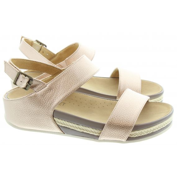 HEAVENLY FEET Ladies Vicky Flat Sandals In Rose Gold