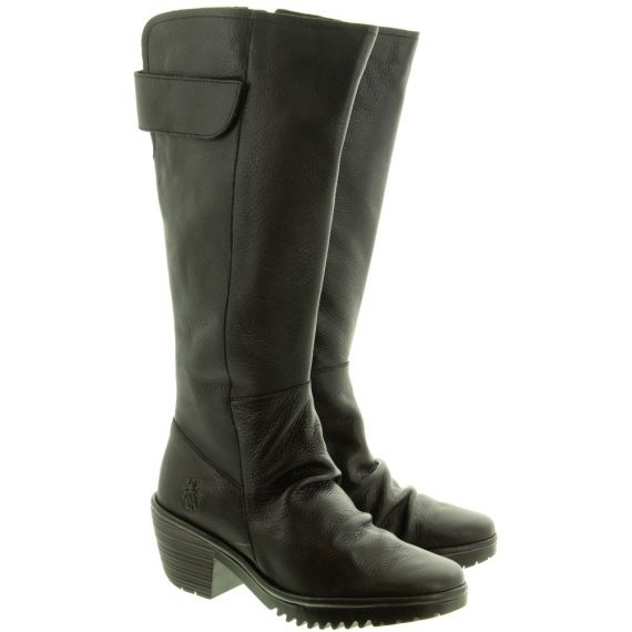 FLY Ladies Waki Heel Knee Boots In Black