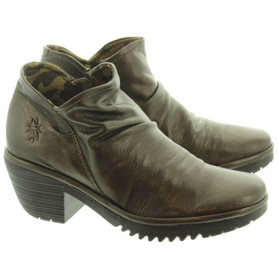 FLY Ladies Wezo Heel Ankle Boots In Bronze