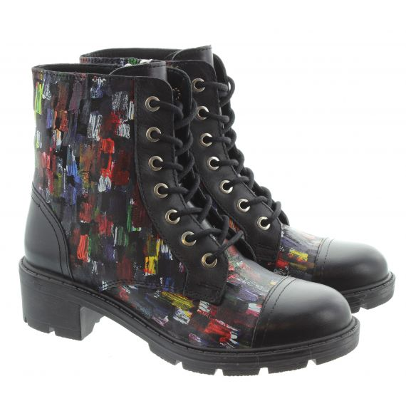 ADESSO Lydia Lace Ankle Boots In Black Multi