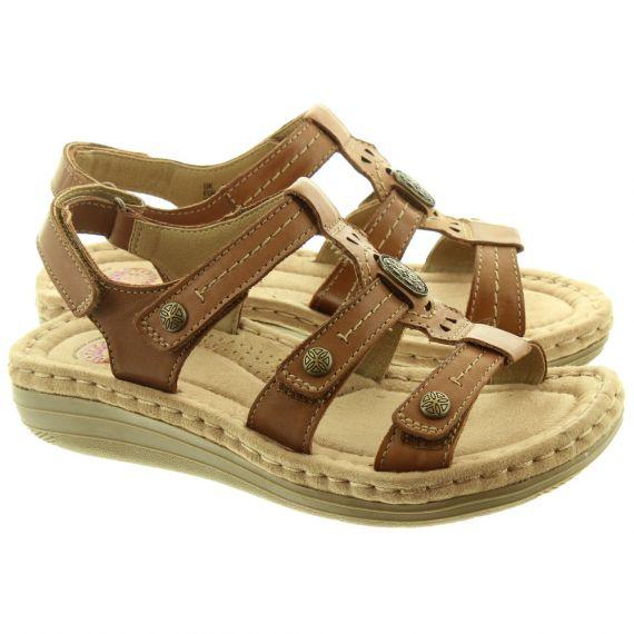 EARTH SPIRIT Ladies Lynbrook Velcro Sandals In Tan