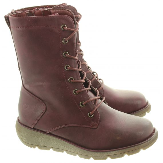 HEAVENLY FEET Ladies Martina Lace Calf Boots In Berry