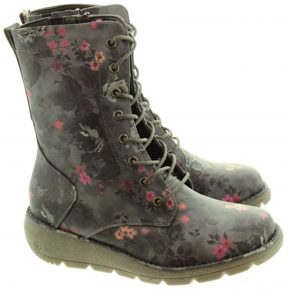 HEAVENLY FEET Ladies Martina Lace Calf Boots In Black Floral