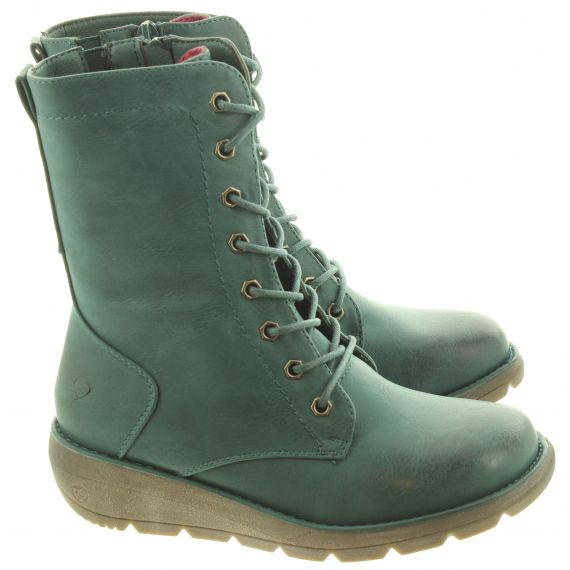 HEAVENLY FEET Ladies Martina Lace Calf Boots In Ocean