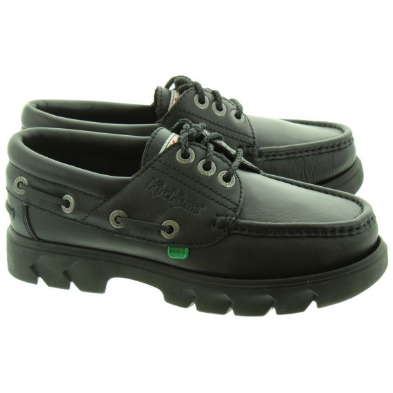 KICKERS Mens Lennon Boat Shoes In Black