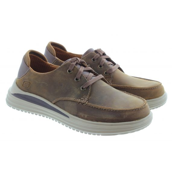 SKECHERS Mens 204473 Lace Shoes In cordovan Brown