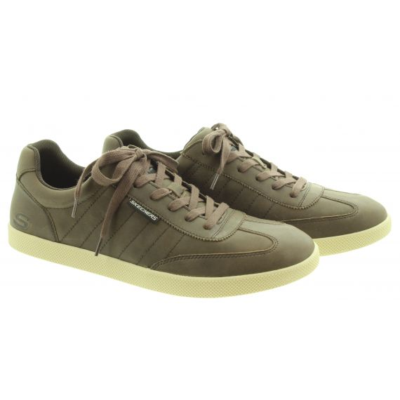 SKECHERS Mens 210207 Lace Trainers In Chocolate