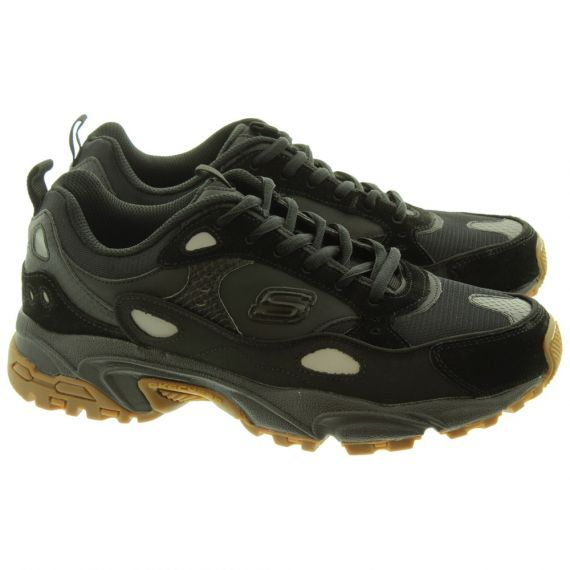 SKECHERS Mens 51708 Lace Trainers In All Black