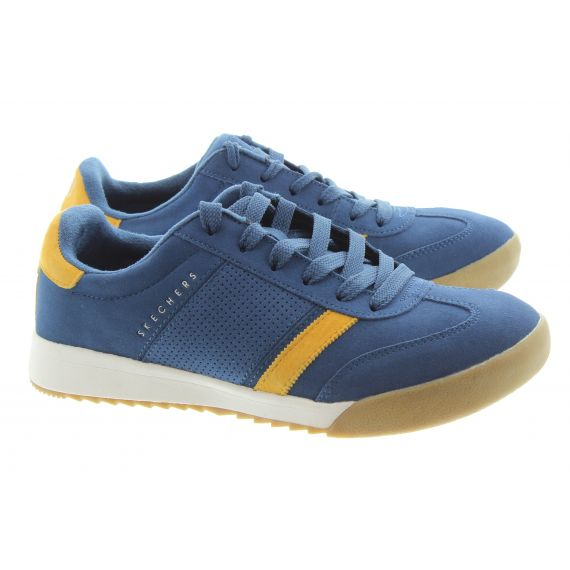 SKECHERS Mens 52325 Zinger Suede Trainers In Navy And Yellow