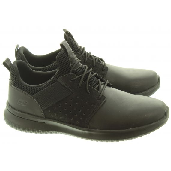 SKECHERS Mens 65870 Lace Trainers In All Black