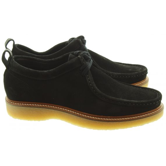 DEAKINS Mens Bowling Apron Shoes In Black Suede