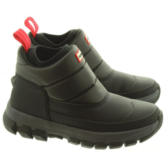 HUNTER Mens Insulated Snow Short Boots In Black