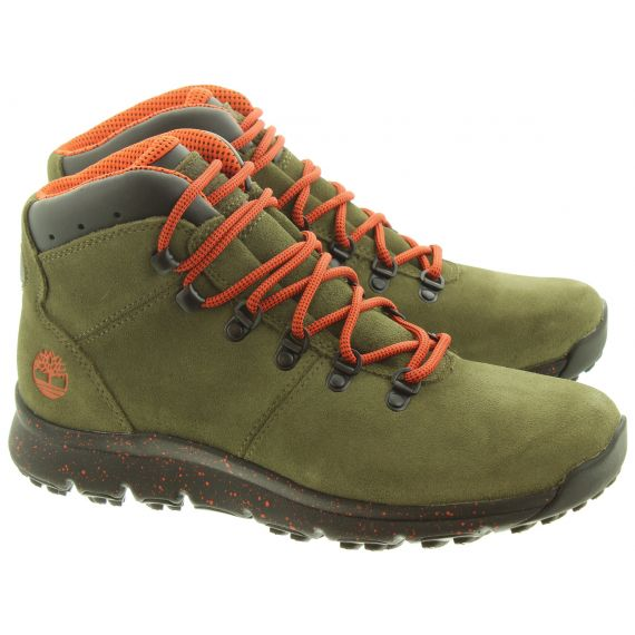 TIMBERLAND Mens World Hiker Boots In Dark Green