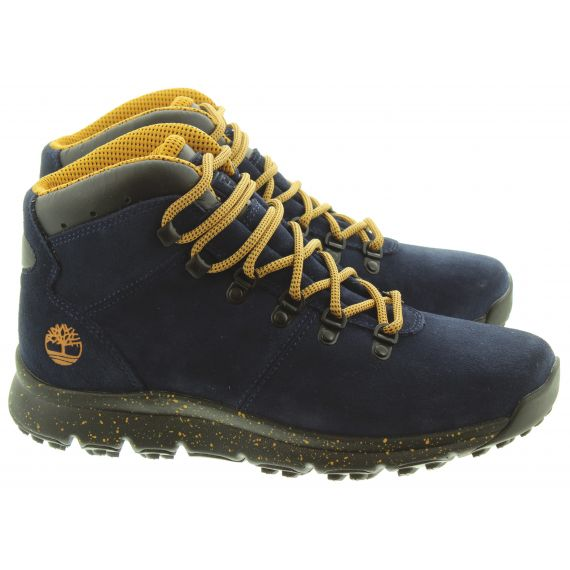 TIMBERLAND Mens World Hiker Boots In Navy