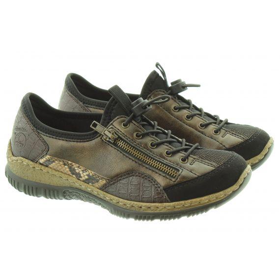 RIEKER Ladies N3261 Elastic Shoes In Black Croc
