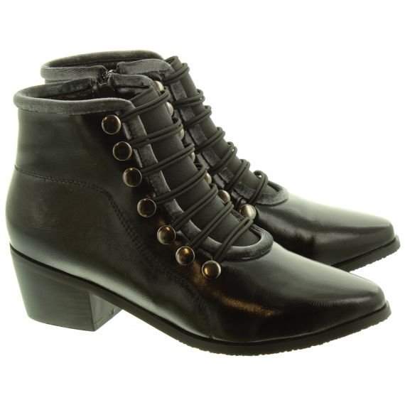 LUNAR Ladies Napoleon2 Button Ankle Boots In Black