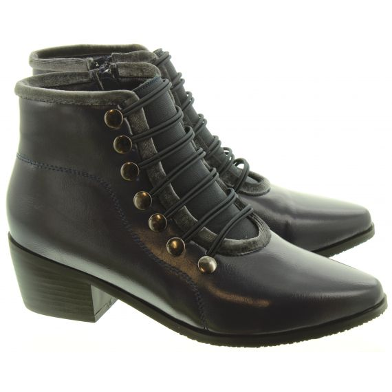 LUNAR Ladies Napoleon2 Button Ankle Boots In Navy