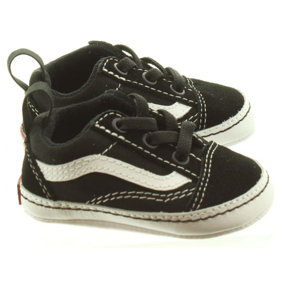 VANS Kids Old Skool Crib Shoes In Black And White