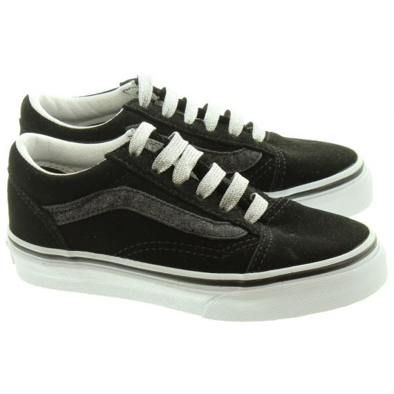 VANS Old Skool Kids Shoes In Black Glitter