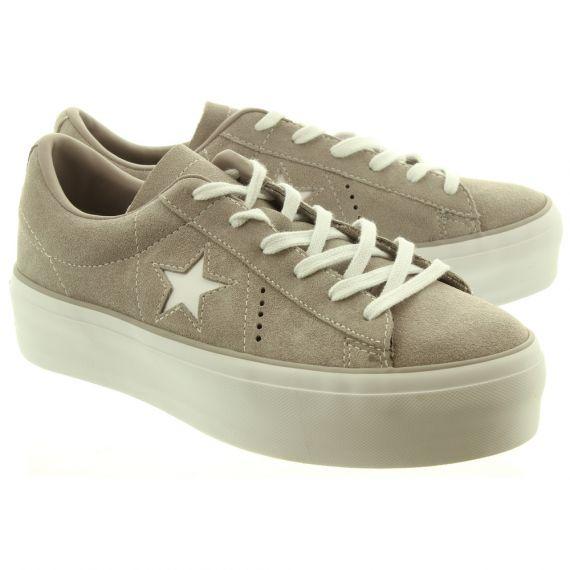 CONVERSE Ladies One Star Platform Shoes In Grey