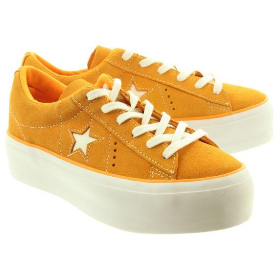 CONVERSE Ladies One Star Platform Shoes In Orange