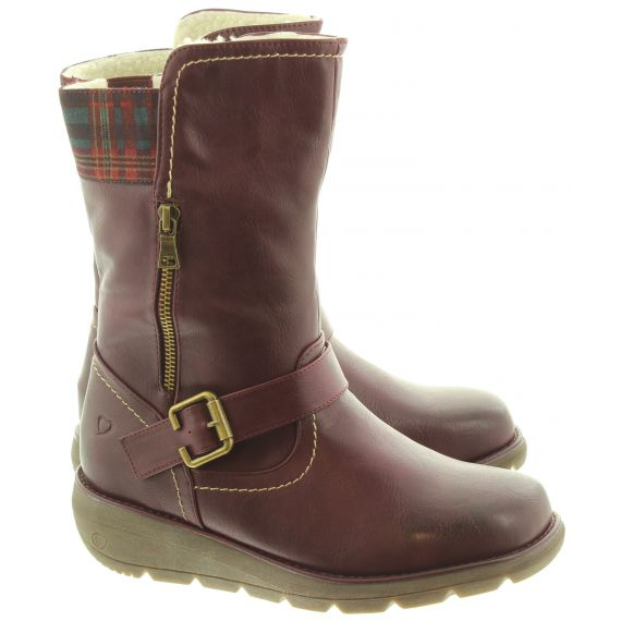 HEAVENLY FEET Ladies Pacific3 Calf Boots In Berry
